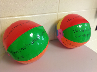 Comprehension balls that students toss to practice comprehension skills.