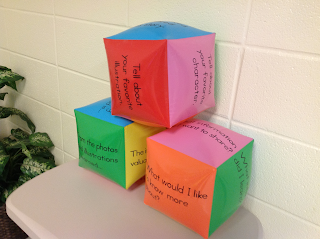 Using comprehension cubes with informational text to build comprehension skills.