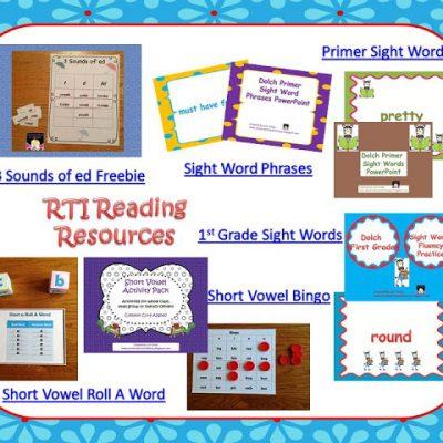 RTI Reading Intervention Visual Plans