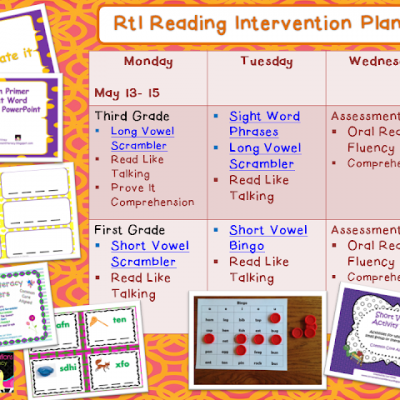 RTI Reading Intervention Plans and Mother's Day