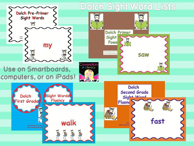 using Dolch Sight Words for Powerpoints on Smartboard, computer and iPads