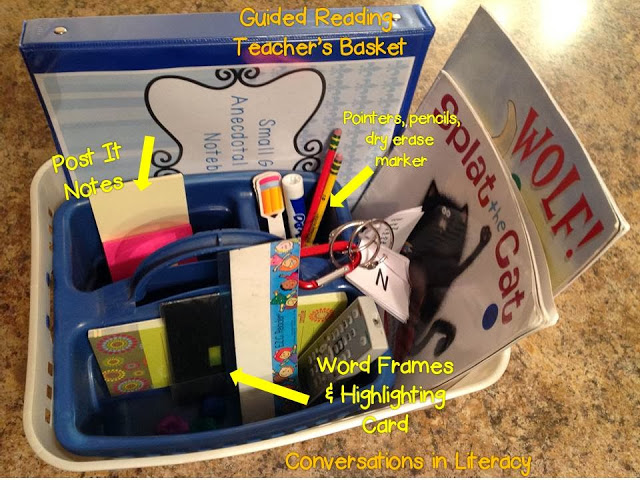 what to keep in your guided reading teacher basket