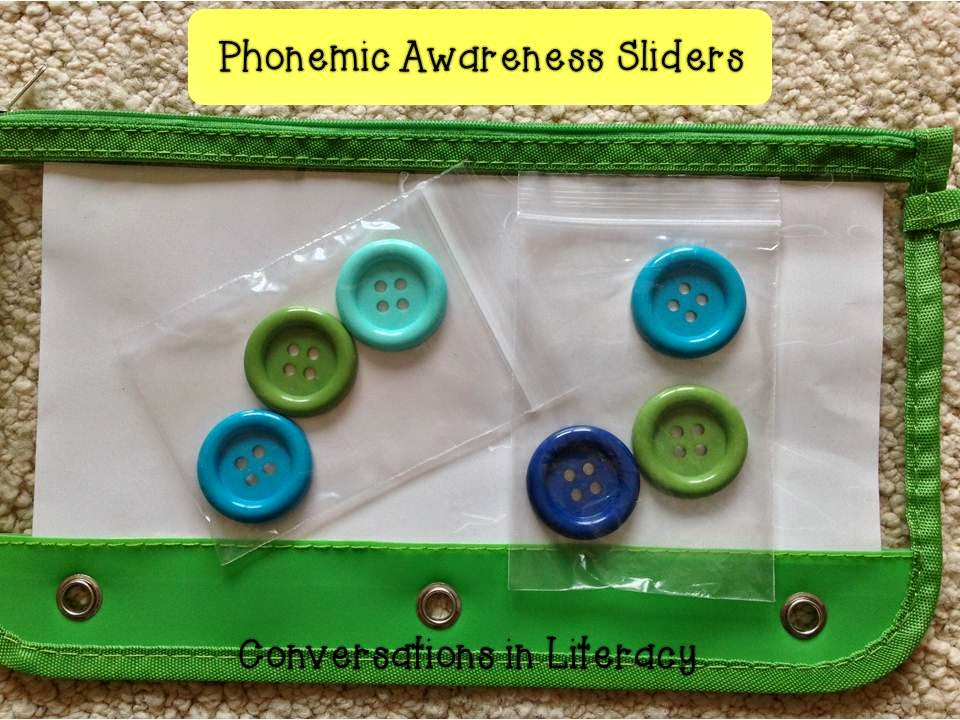 Using buttons as sliders for phonemic awareness and Elkonin boxes