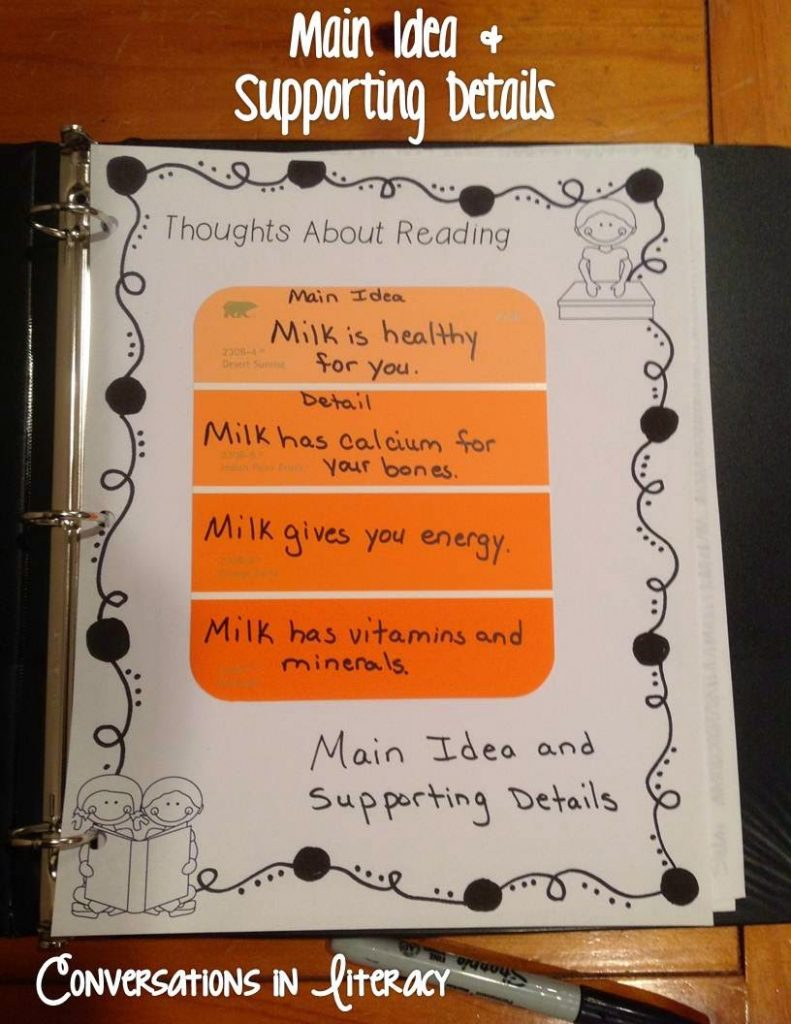 Using paint strips for main idea and supporting details in reader's notebooks