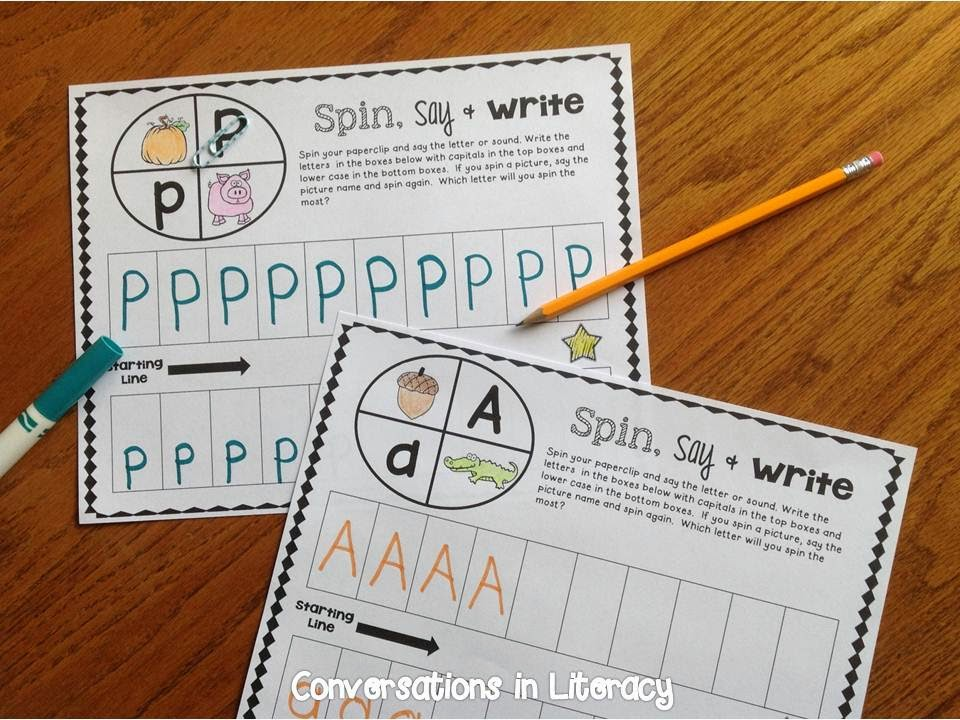 Fun way to learn letters by spinning a paperclip to see which letter will win!