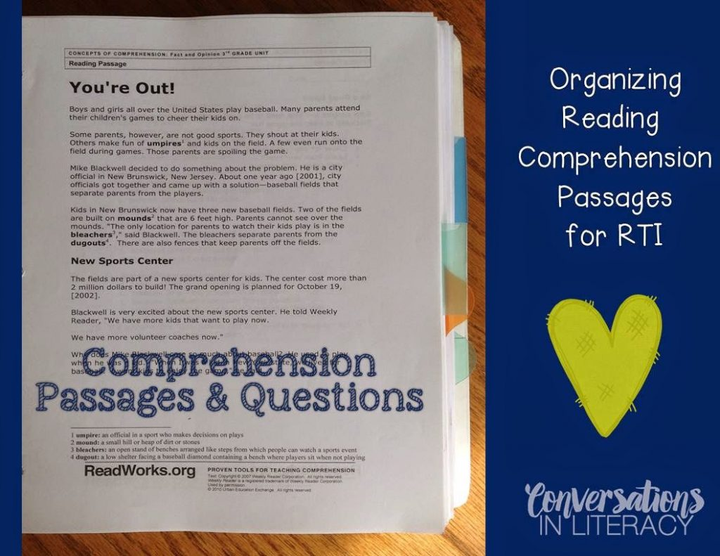 Organizing Comprehension Passages into a binder for RTI