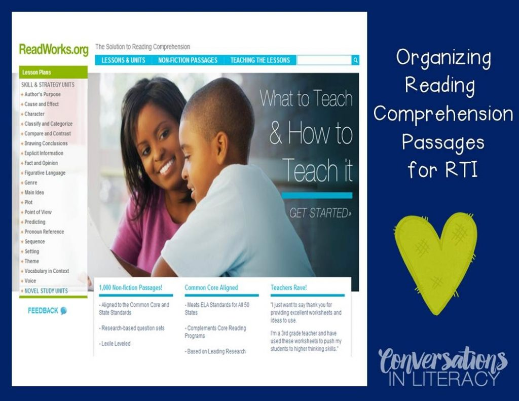 ReadWorks Comprehension passages for RTI