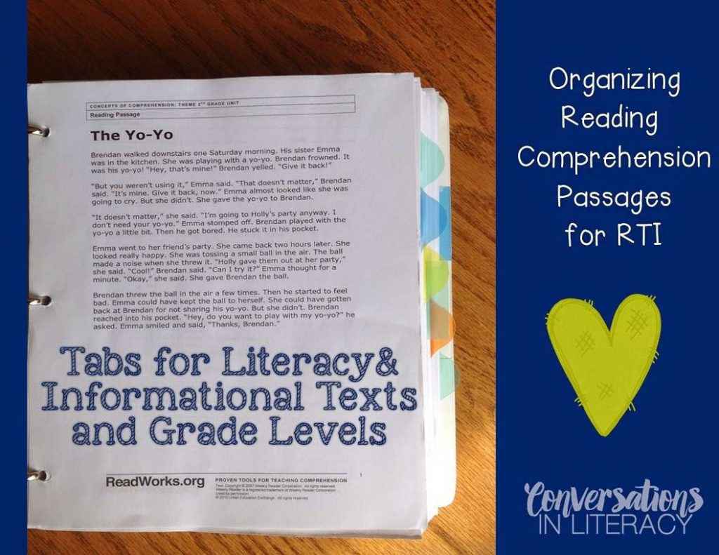- Organizing Comprehension Passages For RTI - Conversations In Literacy