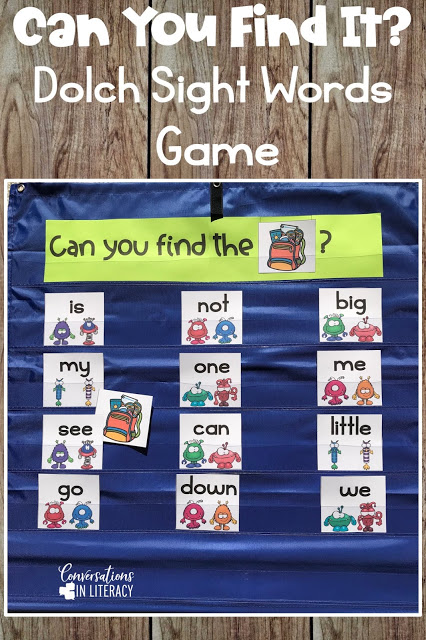 sight word cards, picture cards, pocket chart