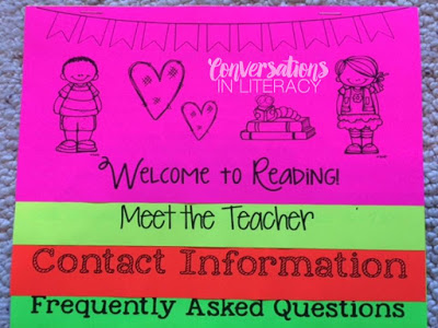 Reading Flip Chart for Meet the Teacher Night