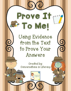 Freebie teaching students to use evidence from the text to prove their answers
