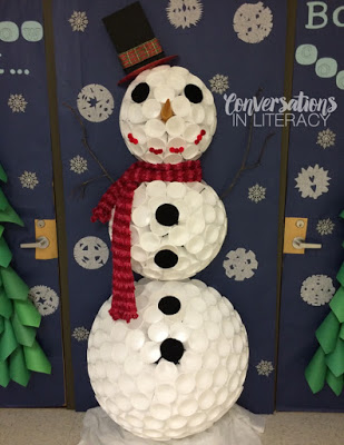 snowman from styrofoam cups