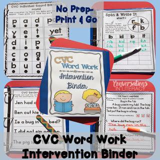 CVC word work intervention binder for RTI