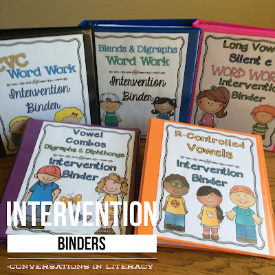 Phonics Word Work Intervention Binders for guided reading and RTI Intervention Groups