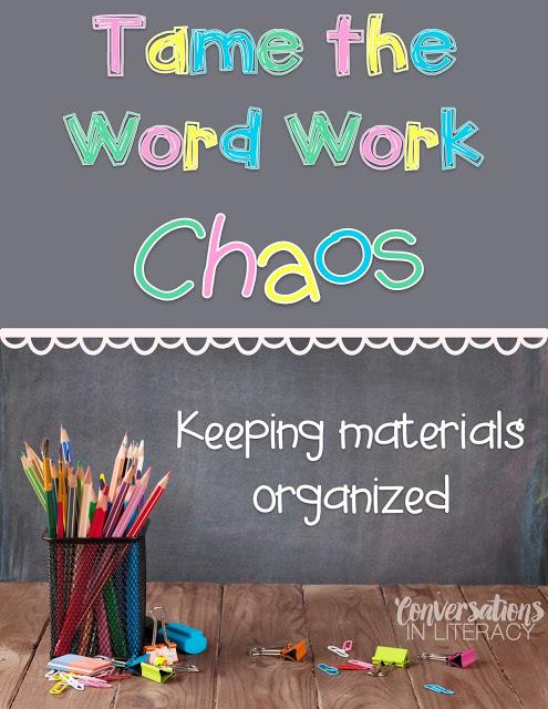 Keeping word work materials organized