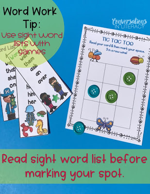Using Sight Word Lists and Tic Tac Toe during Word Work Activities
