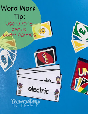 Using Multisyllabic word cards with Uno for Word Work Activities