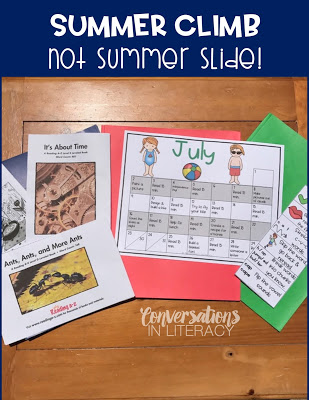 Using Summer Reading Folders for Summer Climb not Summer Slide