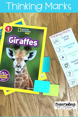 FREE Reading Comprehension Strategies using Thinking Marks- FREE reading comprehension strategies bookmarks for reading activities during guided reading and independent reading time!  #guidedreading #comprehension #classroom #elementary #conversationsinliteracy #readinginterventions #firstgrade #secondgrade #thirdgrade