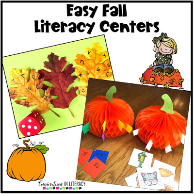 fall literacy centers, leaves and pumpkins