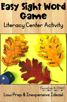 fall literacy centers, leaves, dice, sight words