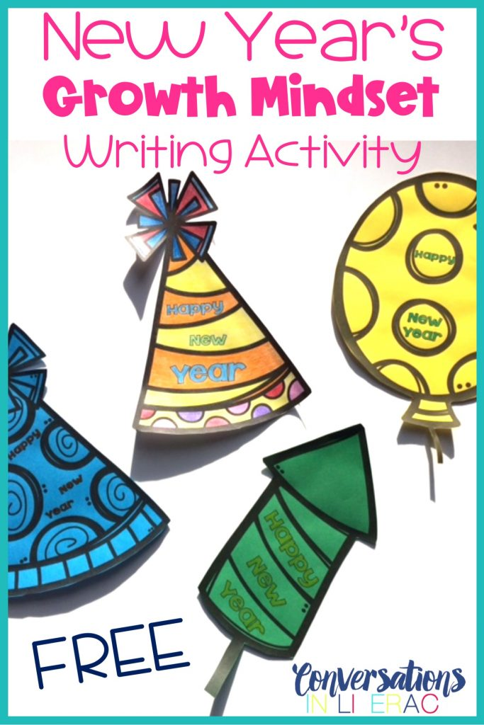 FREE New Year's writing activity for setting goals and how to reach them with growth mindset.  #growthmindset #newyears #free #writingactivity #elementary #classroom #conversationsinliteracy #firstgrade #secondgrade