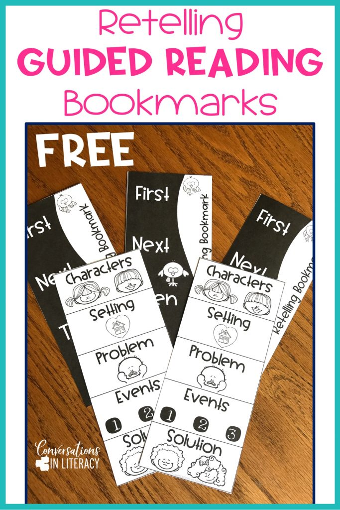 Free Retelling and Sequencing Bookmarks for guided reading small groups in your elementary classroom! #guidedreading #classroomorganization #conversationsinliteracy kindergarten first grade second grade third grade