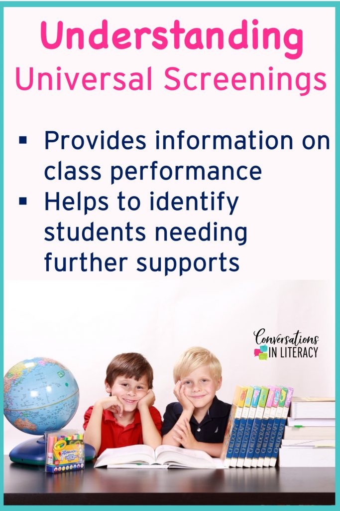Understanding Universal Screenings for RTI reading interventions in elementary classrooms for kindergarten, first grade, second grade, third grade, fourth grade, and fifth grade. #readinginterventions #conversationsinliteracy #kindergarten #firstgrade