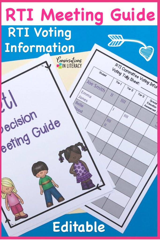 RTI Meeting Agenda and RTI Meeting Forms guide you as you use data forms for decision making during the RTI process. Response to Intervention forms for meetings help teachers make informed decisions about students and what tier should be next after progress monitoring has been completed.  Great tool for RTI Committees! kindergarten, first grade, second grade, third grade, upper grades #RTI #readinginterventions #guidedreading #kindergarten, #first grade #conversationsinliteracy #classroomorganization #elementary