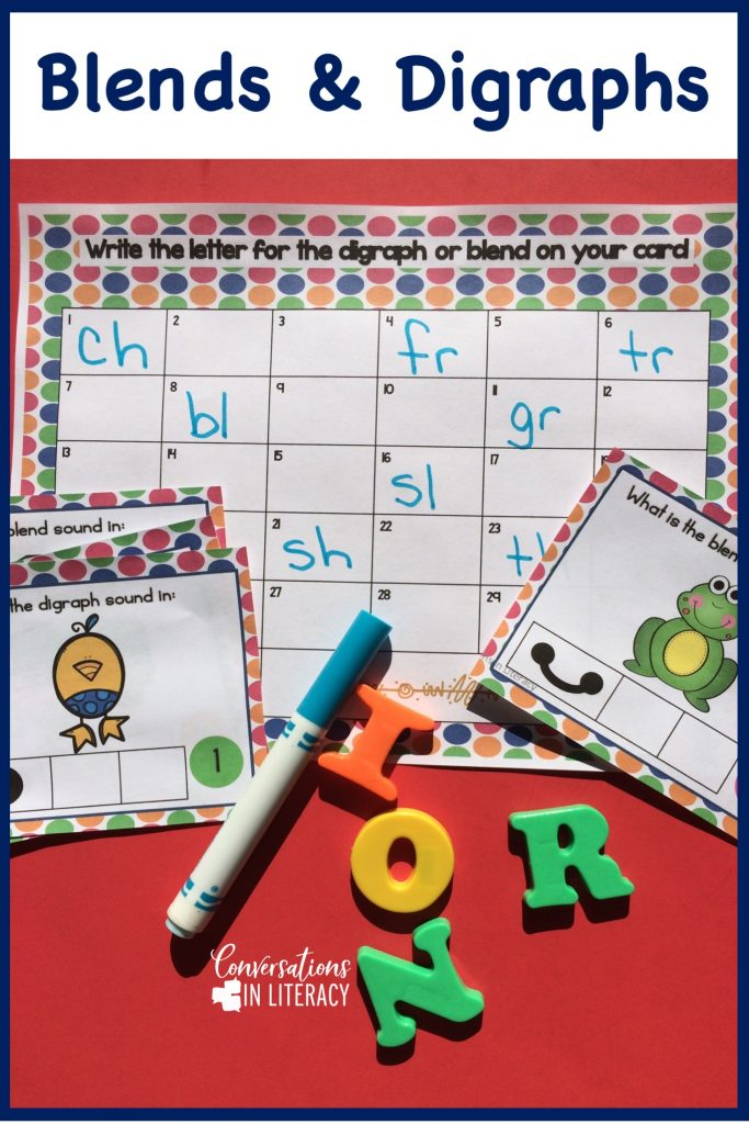 Blends and Digraphs activities for fun learning in the kindergarten, first grade and second grade classroom.  Free teaching ideas for games, printables and alternatives to worksheets for your struggling readers and elementary students. #phonics #decoding #readinginterventions #guidedreading #conversationsinliteracy #blendsanddigraphs