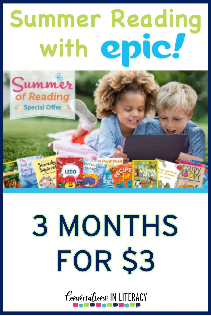 Epic Summer Reading Ideas, summer reading activities and Programs that are easy to use and get kids excited about reading!  Includes a FREE resource and chart for summer reading challenge.  #guidedreading #summerreading #elementary #getepic #classoom #endofyear #conversationsinliteracy #kindergarten #firstgrade #secondgrade #thirdgrade kindergarten, first grade, second grade, third grade