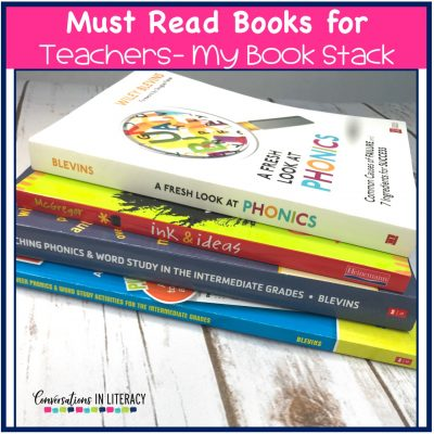 The Best Books for elementary teachers- my teacher book stack for PD professional development! These must read books for teachers will help you sharpen your teaching skills. #teacherpd #elementaryteacher #elementary #classroom #phonics #comprehension #conversationsinliteracy #kindergarten #firstgrade #secondgrade #thirdgrade #fourthgrade #fifthgrade kindergarten, 1st grade, 2nd grade, 3rd grade, 4th grade, 5th grade