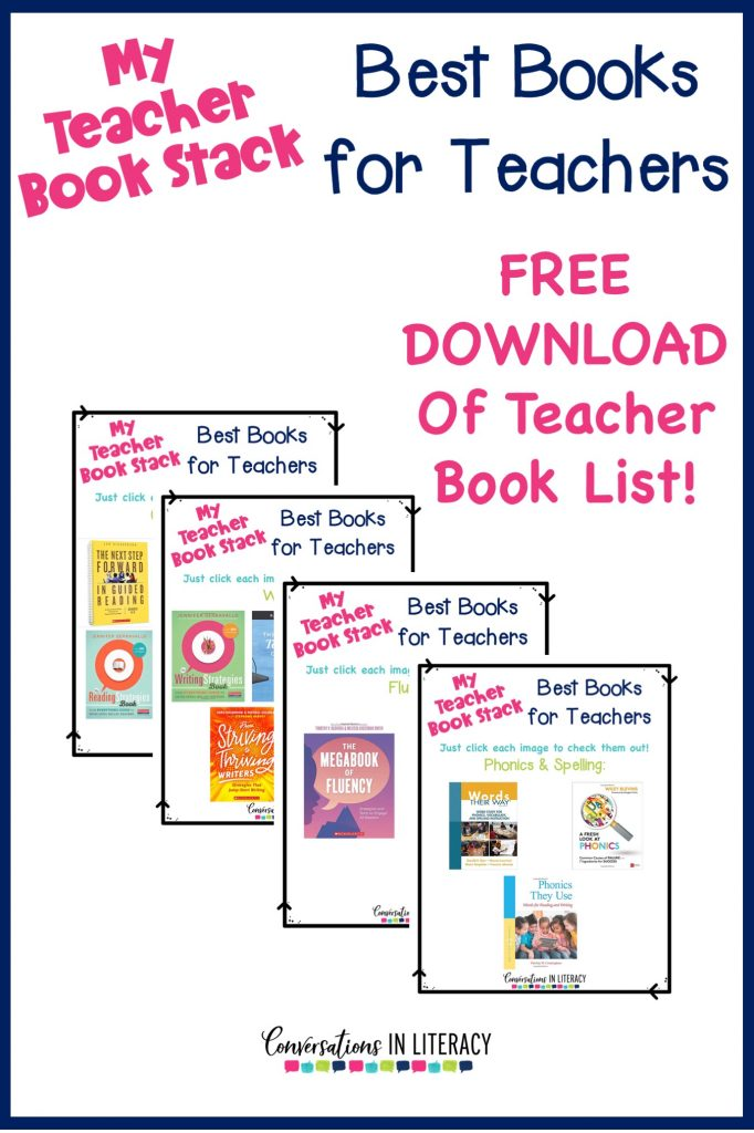 FREE Best Books List Download! The Best Books for elementary teachers- my teacher book stack for PD professional development!  These must read books for teachers will help you sharpen your teaching skills.  #teacherpd #elementaryteacher #elementary #classroom #phonics #comprehension #conversationsinliteracy #kindergarten #firstgrade #secondgrade  #thirdgrade #fourthgrade #fifthgrade kindergarten, 1st grade, 2nd grade, 3rd grade, 4th grade, 5th grade