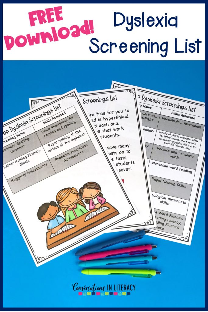 Free list of 10 dyslexia screening tests and how to use them in your classroom! #guidedreading  #conversationsinliteracy #phonemicawareness #phonics #classroom #elementary #thirdgrade #secondgrade #kindergarten #dyslexia #strugglingreaders #firstgrade #readinginterventions 2nd grade, 3rd grade,
