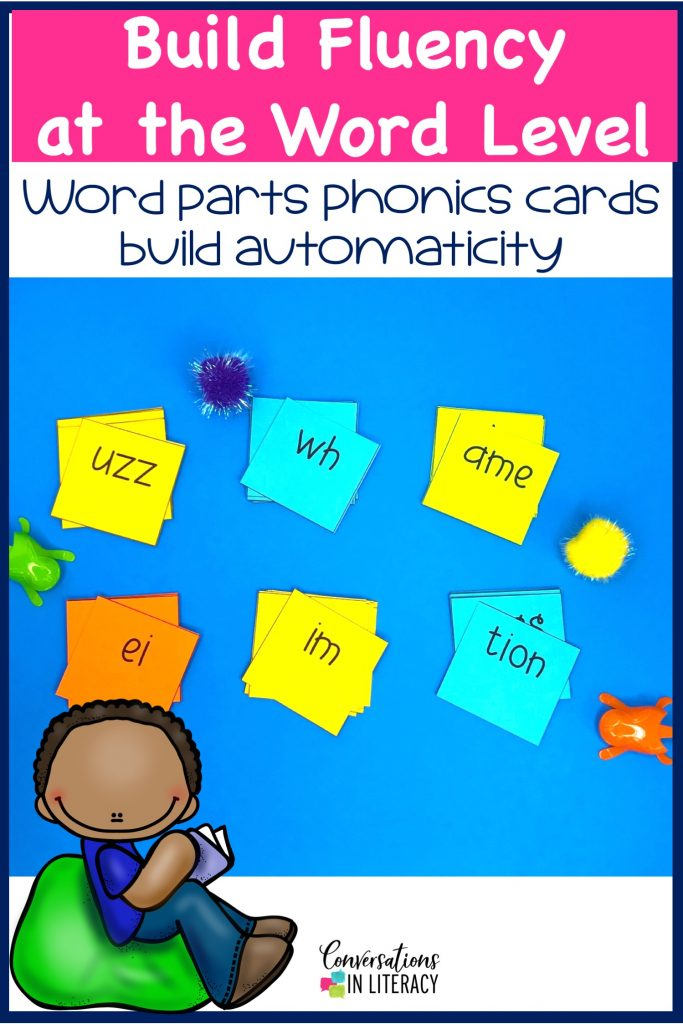 Word Part Cards-Phonics decoding activities and ideas for guided reading and reading interventions that build fluency! Increase learning during small groups with fun practice for kids. Teachers use these phonics activities to build up from word level to fluency with reading passages.  Great for struggling readers too! #kindergarten #firstgrade #secondgrade #thirdgrade #conversationsinliteracy #phonics #fluency #comprehension #classroom #elementary #decoding #readinginterventions #guidedreading