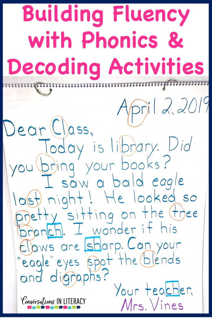 Anchor chart for Building fluency with phonics and decoding activities. Hands on onset and rime activities for kindergarten, first grade, second grade, and third grade.  Great for guided reading word work and struggling readers. #guidedreading #fluency #conversationsinliteracy #comprehension #phonics  #decoding #classroom #elementary #thirdgrade #secondgrade  #kindergarten #firstgrade #comprehensionstrategies #anchorcharts #readinginterventions 2nd grade, 3rd grade