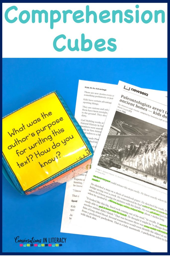 Comprehension Cubes for informational text #guidedreading #freebies #conversationsinliteracy #comprehension #classroom #elementary #thirdgrade #secondgrade #fourthgrade #fifthgrade  #comprehensionstrategies #anchorcharts  #readinginterventions 2nd grade, 3rd grade, 4th grade, 5th grade