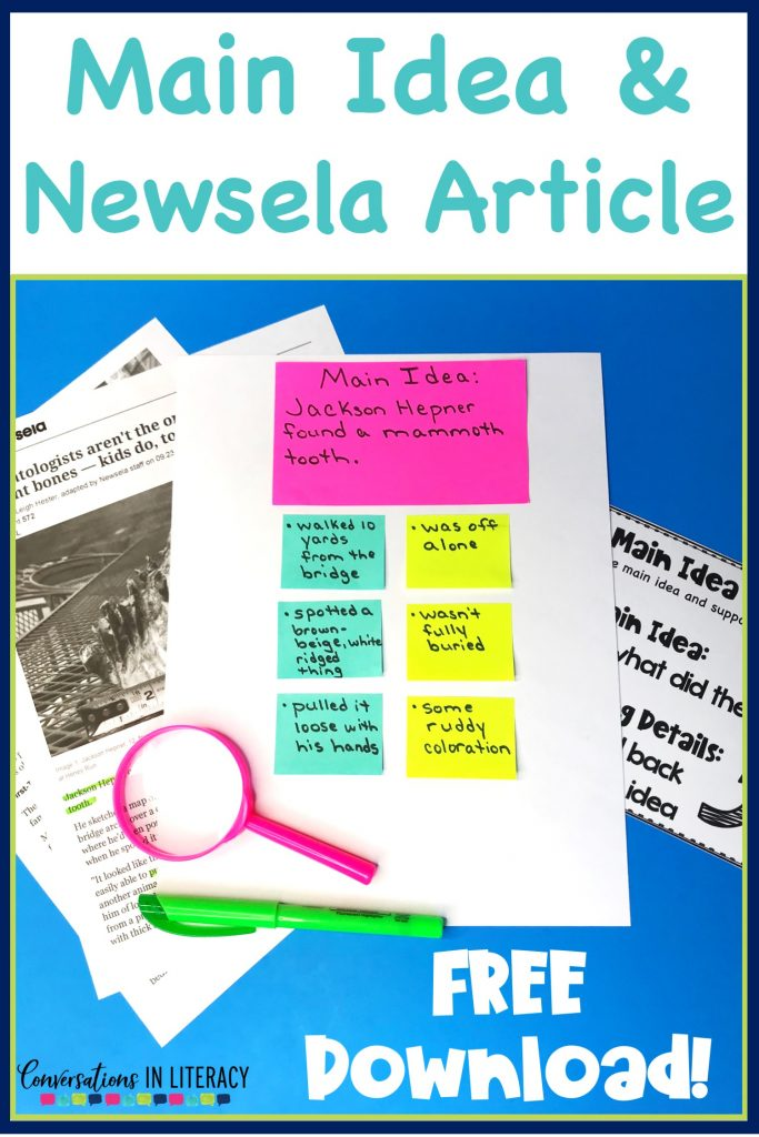 Teaching main idea and supporting details with Newslea so students can understand this comprehension skill. #guidedreading #freebies #conversationsinliteracy #comprehension #classroom #elementary #thirdgrade #secondgrade #fourthgrade #fifthgrade  #comprehensionstrategies #anchorcharts  #readinginterventions 2nd grade, 3rd grade, 4th grade, 5th grade