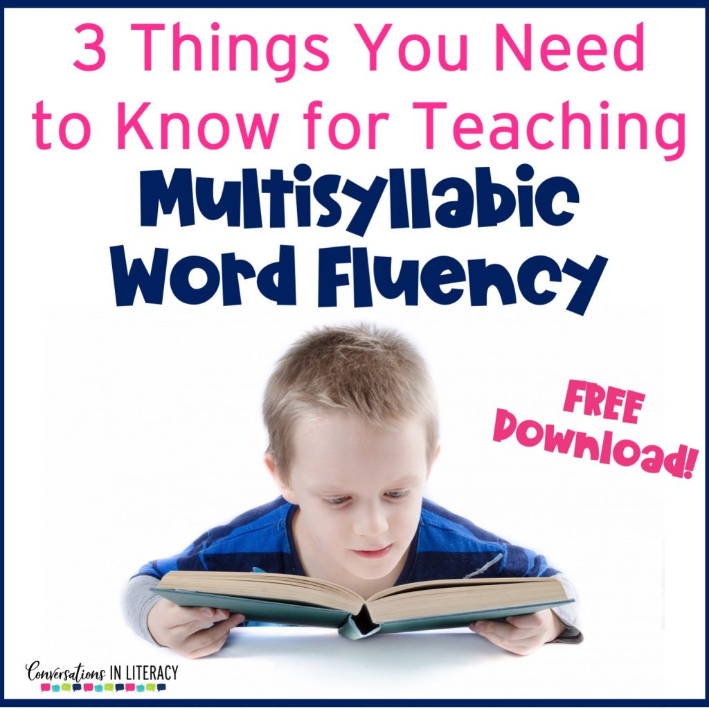 Multisyllabic word activities for decoding larger words builds reading fluency and improves comprehension. FREE downloads. #fluency #phonics #thirdgrade #secondgrade #fourthgrade #fifthgrade #conversationsinliteracy #guidedreading #readinginterventions #anchorcharts #literacycenters #elementary #classroom #comprehension #syllables 2nd grade, 3rd grade, 4th grade, 5th grade