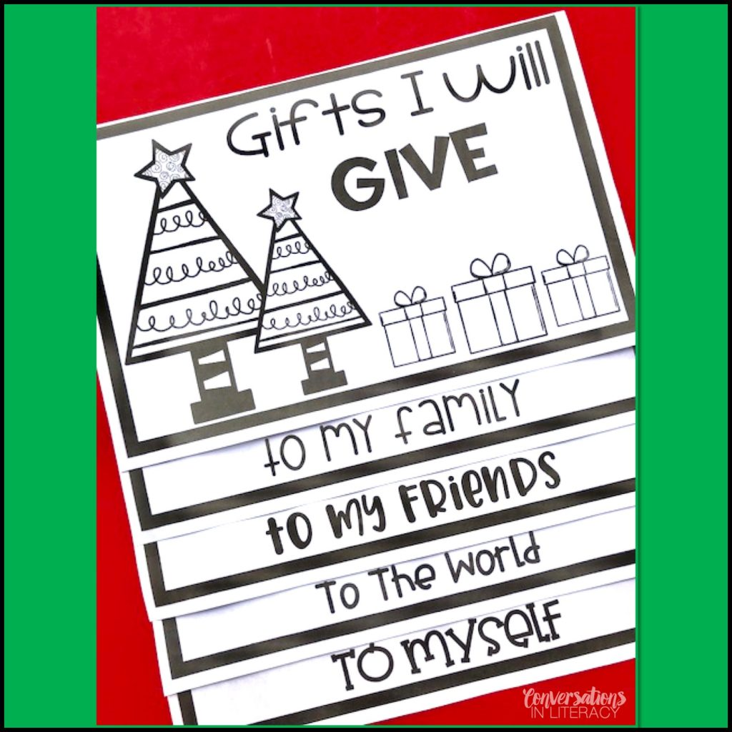 Gifts I Will Give flip book helps students think about gifts they could give to others that don't even need to cost anything #writingideas #writingprompts #writingactivities #conversationsinliteracy #Christmasactivity #holidaywriting #elementary #classroom #firstgrade #secondgrade #thirdgrade #fourthgrade 1st grade, 2nd grade, 3rd grade, 4th grade