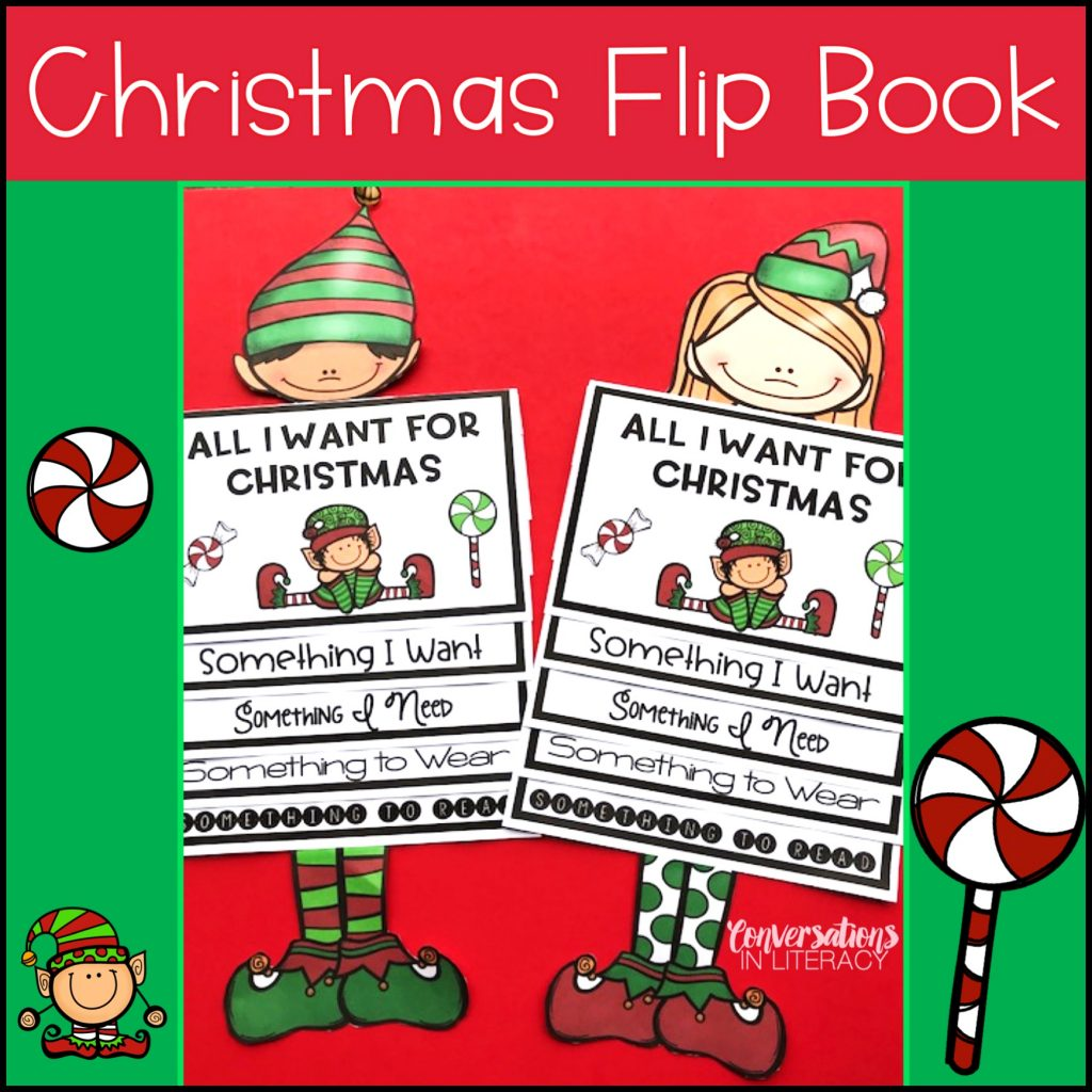 All I Want for Christmas is a fun flip book where students can choose something they want, something they need, something to wear and something to read!  #writingideas #writingprompts #writingactivities #conversationsinliteracy #Christmasactivity #holidaywriting #elementary #classroom #firstgrade #secondgrade #thirdgrade #fourthgrade 1st grade, 2nd grade, 3rd grade, 4th grade