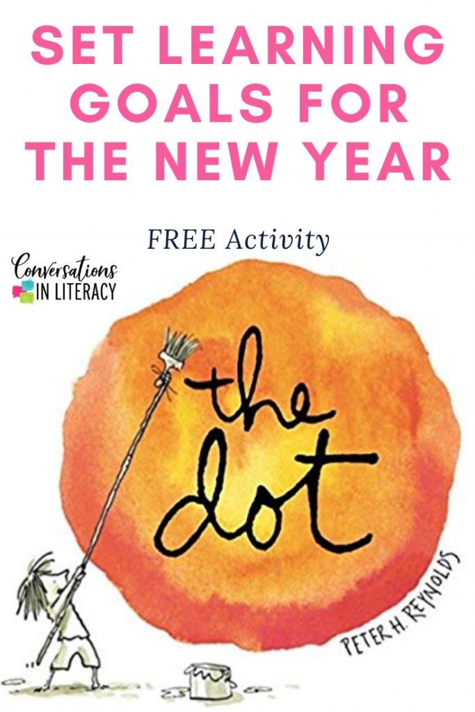 FREE New Year's Writing Activity for setting learning goals in the classroom using the book The Dot! #firstgrade #secondgrade #thirdgrade #fourthgrade #fifthgrade #conversationsinliteracy #classroom #elementary #writingactivity #dotactivities #newyears #growthmindset #learninggoals kindergarten, 1st grade, 2nd grade, 3rd grade, 4th grade, 5th grade