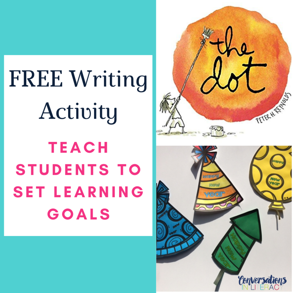 FREE New Year's Writing Activity for setting learning goals in the classroom! #firstgrade #secondgrade #thirdgrade #fourthgrade #fifthgrade #conversationsinliteracy #classroom #elementary #writingactivity #newyears #growthmindset #learninggoals kindergarten, 1st grade, 2nd grade, 3rd grade, 4th grade, 5th grade