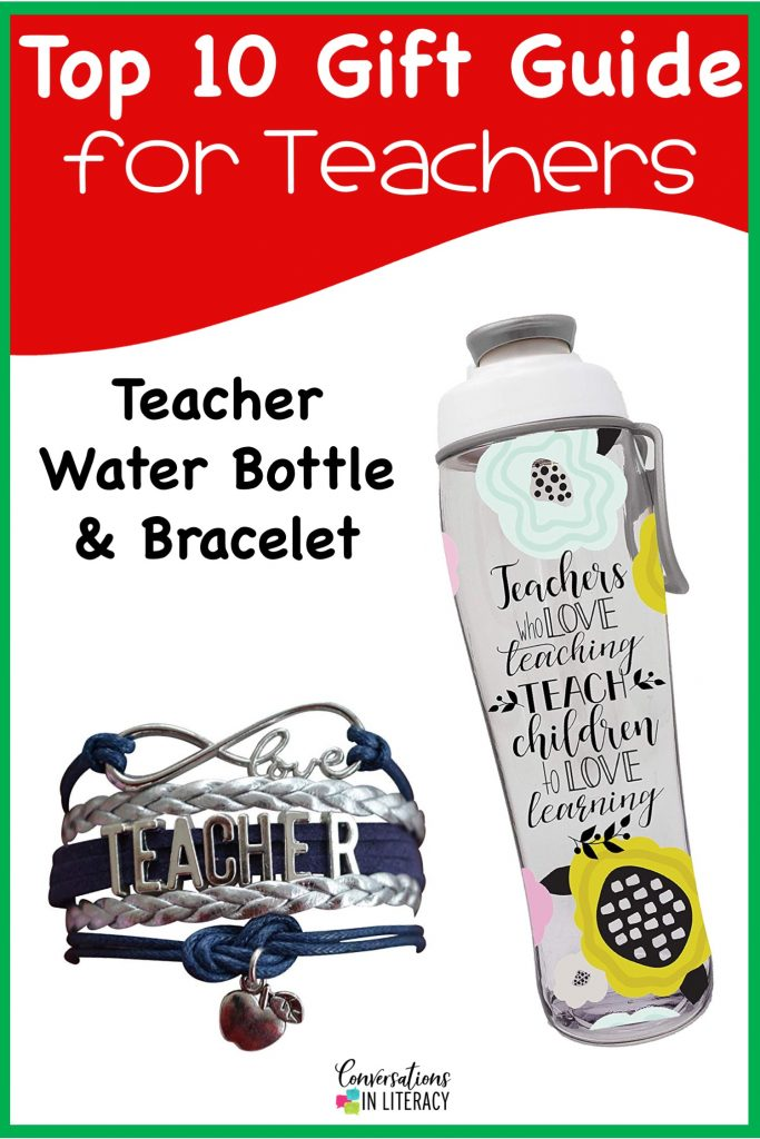 Top 10 Christmas Gift Ideas for Teachers! These fun and useful gifts make the perfect presents for the teachers in your life or even yourself! Students will love giving their teachers these gifts  Christmas or any holiday! Teacher Water Bottle Teacher Bracelet #teachergifts #giftsforteachers #kindergarten #firstgrade #secondgrade #thirdgrade #fourthgrade #fifthgrade #conversationsinliteracy #classroom #elementary #topgiftideas kindergarten, 1st grade, 2nd grade, 3rd grade, 4th grade, 5th grade