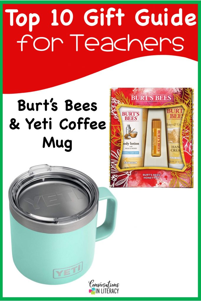 Top 10 Christmas Gift Ideas for Teachers! These fun and useful gifts make the perfect presents for the teachers in your life or even yourself! Students will love giving their teachers these gifts  Christmas or any holiday! Yeti, Burt's Bees #teachergifts #giftsforteachers #kindergarten #firstgrade #secondgrade #thirdgrade #fourthgrade #fifthgrade #conversationsinliteracy #classroom #elementary #topgiftideas kindergarten, 1st grade, 2nd grade, 3rd grade, 4th grade, 5th grade