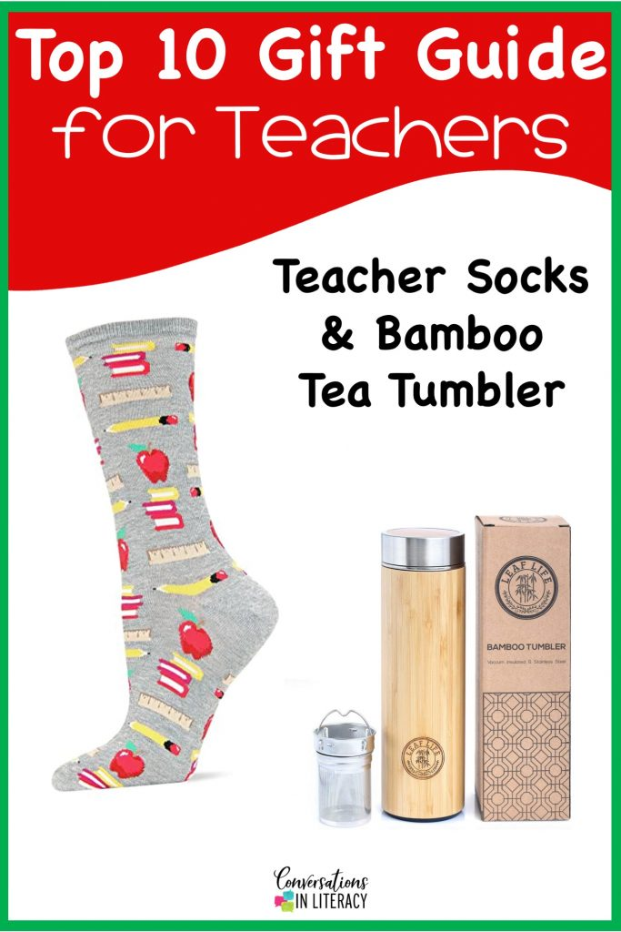 Top 10 Christmas Gift Ideas for Teachers! These fun and useful gifts make the perfect presents for the teachers in your life or even yourself! Students will love giving their teachers these gifts  Christmas or any holiday! Teacher Socks, Bamboo Tea Tumberl #teachergifts #giftsforteachers #kindergarten #firstgrade #secondgrade #thirdgrade #fourthgrade #fifthgrade #conversationsinliteracy #classroom #elementary #topgiftideas kindergarten, 1st grade, 2nd grade, 3rd grade, 4th grade, 5th grade