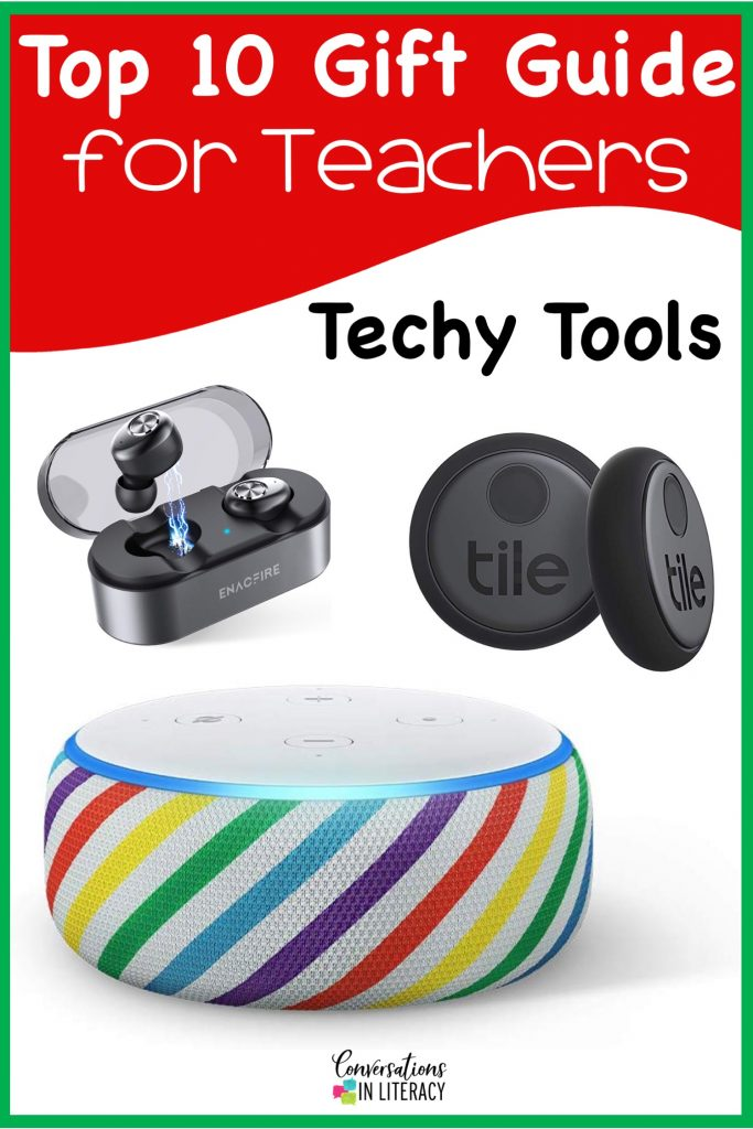 Top 10 Christmas Gift Ideas for Teachers! These fun and useful gifts make the perfect presents for the teachers in your life or even yourself! Students will love giving their teachers these gifts  Christmas or any holiday! Earbuds, Tile Sticker, Echo Dot for Kids #teachergifts #giftsforteachers #kindergarten #firstgrade #secondgrade #thirdgrade #fourthgrade #fifthgrade #conversationsinliteracy #classroom #elementary #topgiftideas kindergarten, 1st grade, 2nd grade, 3rd grade, 4th grade, 5th grade