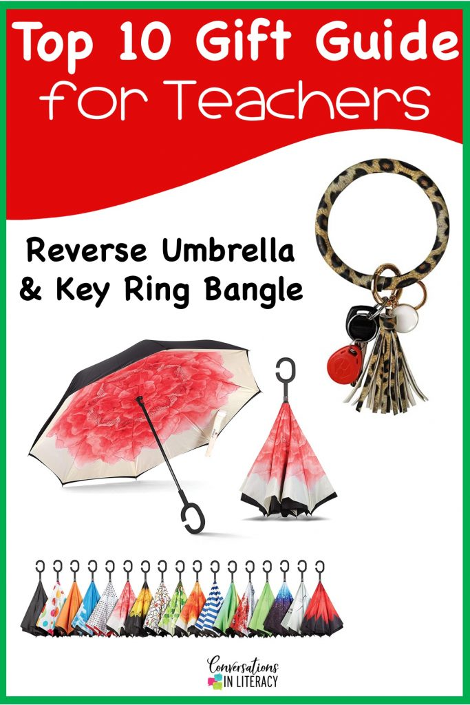 Top 10 Christmas Gift Ideas for Teachers! These fun and useful gifts make the perfect presents for the teachers in your life or even yourself! Students will love giving their teachers these gifts  Christmas or any holiday! Reverse Umbrella Key Ring Bangle #teachergifts #giftsforteachers #kindergarten #firstgrade #secondgrade #thirdgrade #fourthgrade #fifthgrade #conversationsinliteracy #classroom #elementary #topgiftideas kindergarten, 1st grade, 2nd grade, 3rd grade, 4th grade, 5th grade
