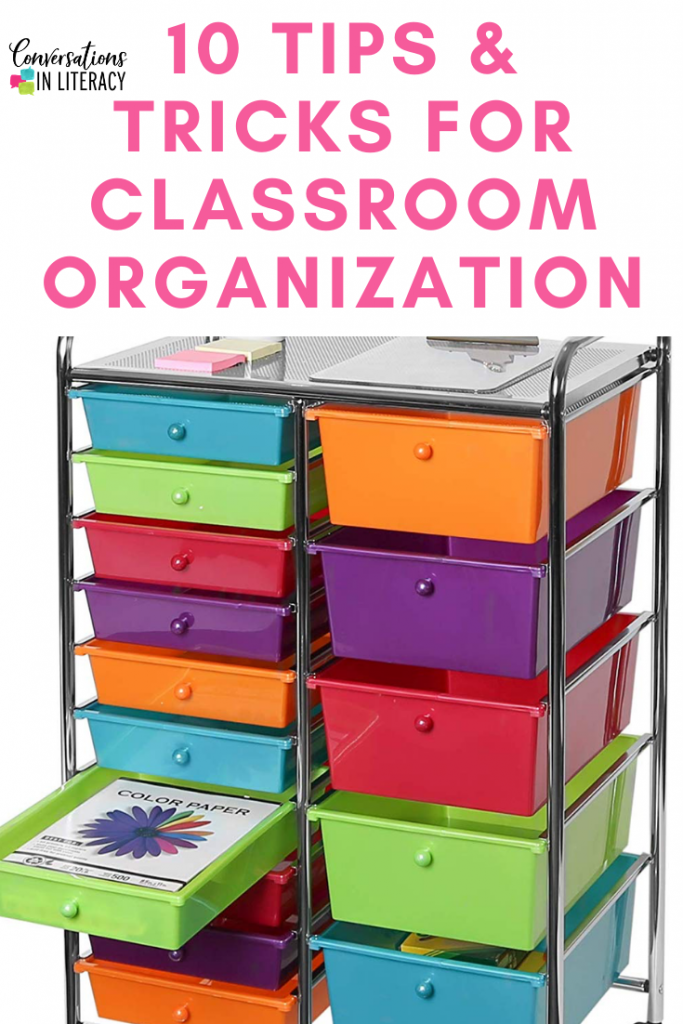 10 Easy Tips and Tricks to help you get your elementary classroom organized and decluttered! #kindergarten #firstgrade #secondgrade #thirdgrade #fourthgrade #fifthgrade #classroomstorage #conversationsinliteracy #classroom #elementary #classroomorganization kindergarten, 1st grade, 2nd grade, 3rd grade, 4th grade, 5th grade
