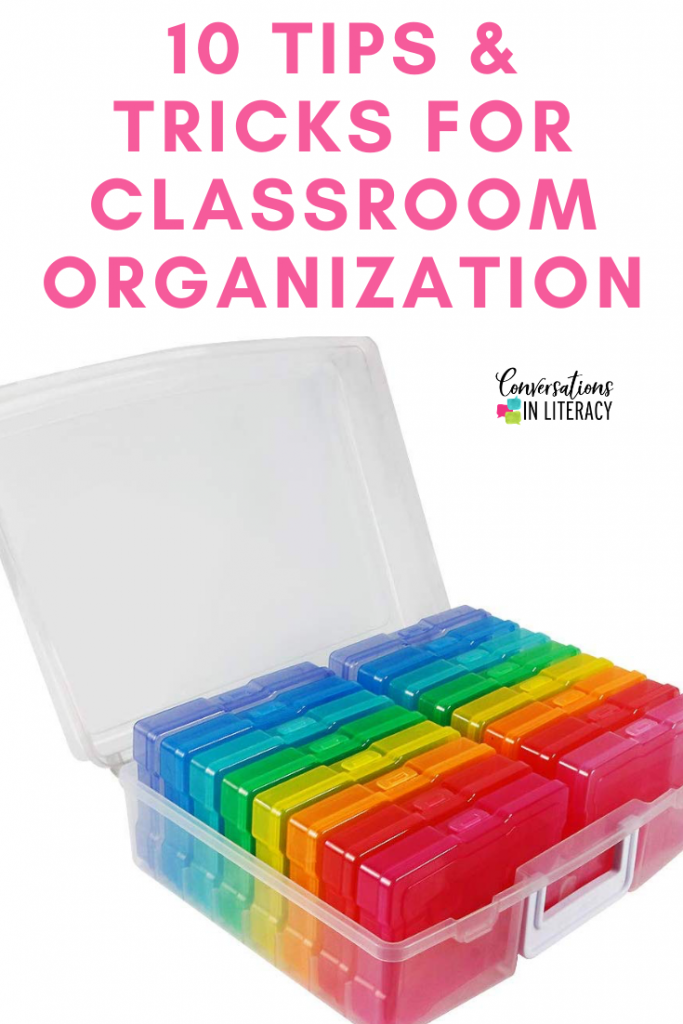10 Easy Tips and Tricks to help you get your elementary classroom organized and decluttered! #kindergarten #firstgrade #secondgrade #thirdgrade #fourthgrade #fifthgrade #literacycenters #conversationsinliteracy #classroom #elementary #classroomorganization kindergarten, 1st grade, 2nd grade, 3rd grade, 4th grade, 5th grade